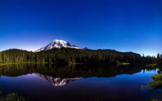 Forest Mountain Blue Sea Night wallpapers and stock photos