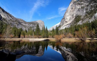 Mountains Trees Lake Yosemite wallpapers and stock photos