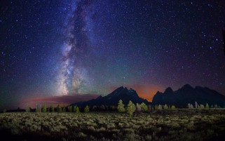 Mountain Milky Way Trees Field wallpapers and stock photos