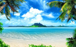 Azure Ocean Beach Palms Island wallpapers and stock photos