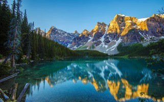 Mountains Forest Aqua Lake Sky wallpapers and stock photos
