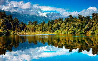 Mountains Forest Lake Sky wallpapers and stock photos