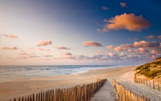 Pretty Beach Way Fence Ocean wallpapers and stock photos