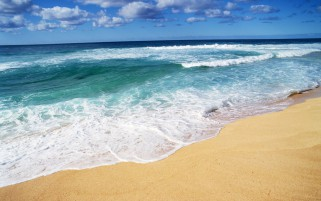 Ocean Foamy Waves Sand Beach wallpapers and stock photos