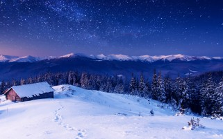 Mountain Forest Snow Hut Night wallpapers and stock photos
