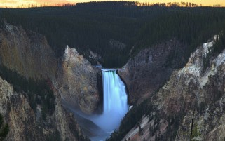 Mighty Lower Falls YellowStone wallpapers and stock photos