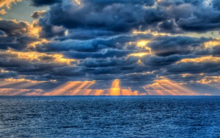 Blue Ocean Cloud Hidden Sunset wallpapers and stock photos