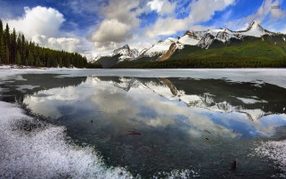 Mountains Forest Frozen Lake wallpapers and stock photos