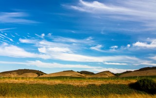 Pretty Hills Grass Bush Sky wallpapers and stock photos