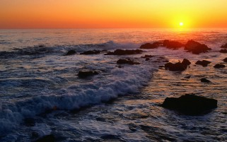 Ocean Rocks & Splendid Sunset wallpapers and stock photos