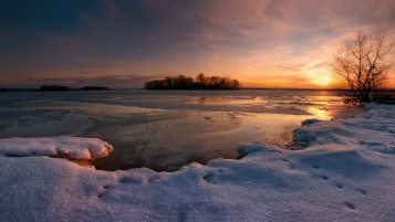 Frozen Lake Snowy Trees Sunset wallpapers and stock photos