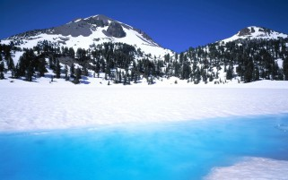 Azure Lake Peaks Trees Snowy wallpapers and stock photos