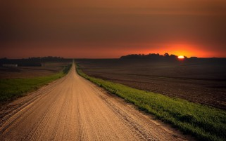 Stunning Road Field Red Sunset wallpapers and stock photos