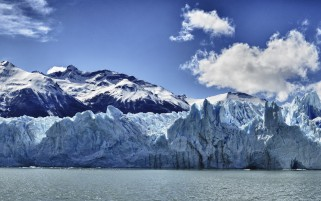 Snowy Mountains Ice Wall River wallpapers and stock photos