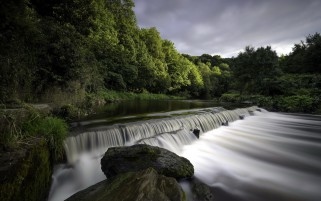 Waterfall River Trees Rocks wallpapers and stock photos