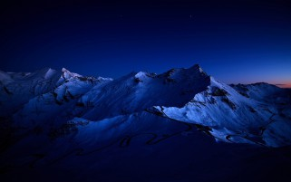 Snowy Peaks Dark Blue Night wallpapers and stock photos