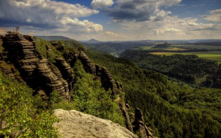 Nice Forest Cliff River Fields wallpapers and stock photos