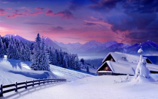Fir Trees Snowy Cabins Fence wallpapers and stock photos