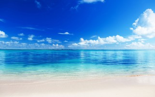 Azure Ocean Beach Clouds Sky wallpapers and stock photos