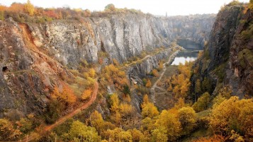 Yellow Trees Cliffs Lake Road wallpapers and stock photos