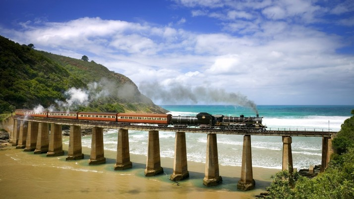 Rail Way Above The Beach wallpapers and stock photos