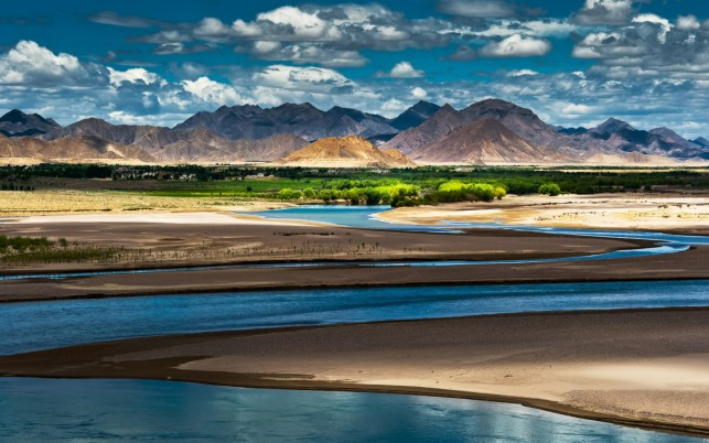 Oasis River Trees China Tibet wallpapers and stock photos