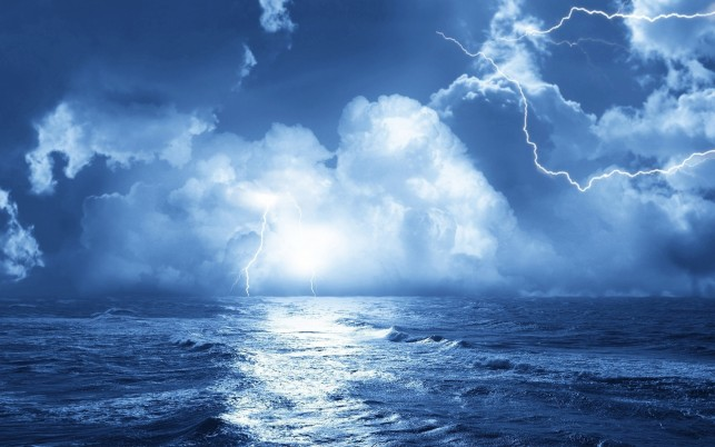 Gleaming Blue Ocean Bolt Cloud wallpapers and stock photos