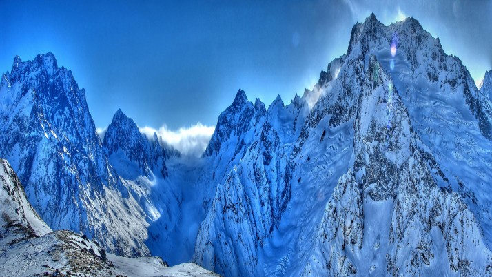 Magnificent Blue Snowy Peaks wallpapers and stock photos