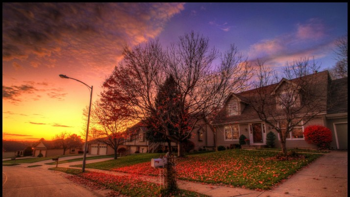 Houses Autumn Road Nice Sunset wallpapers and stock photos