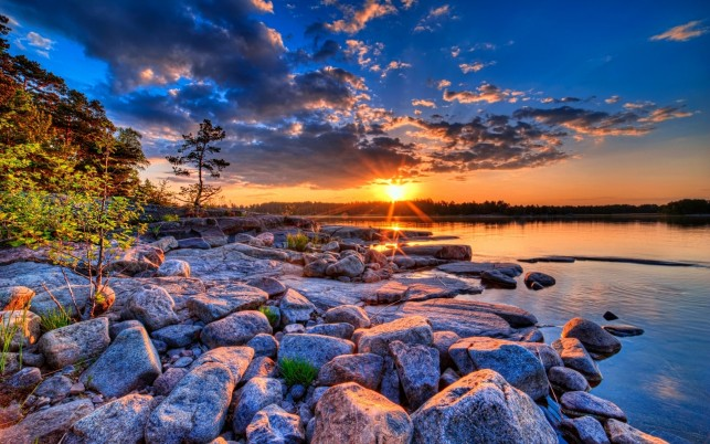 Lake Rocks Wood Clouds Sunset wallpapers and stock photos
