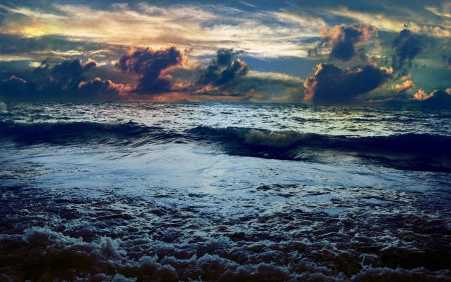 Dark Ocean Calico Clouds Storm wallpapers and stock photos