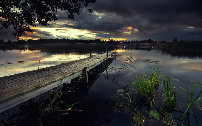 Dark Lake Pier Grass Stormy wallpapers and stock photos