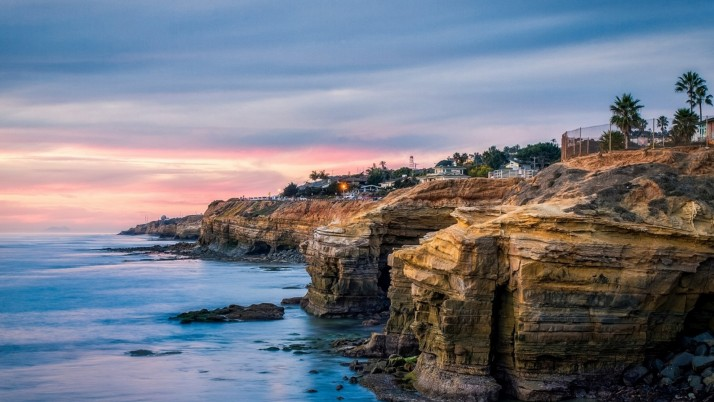 Ocean Cliffs Houses San Diego wallpapers and stock photos