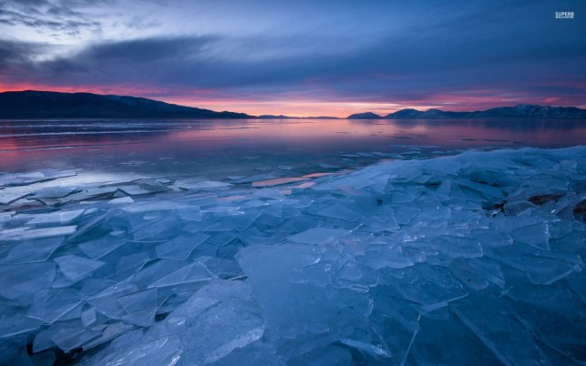 Icy Lake Hills Pink Sunset wallpapers and stock photos