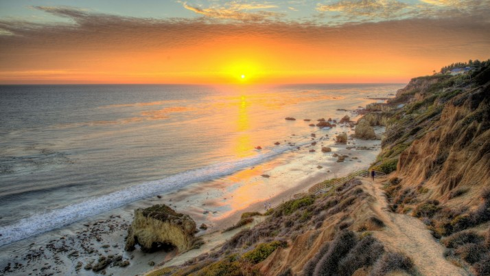 Ocean Cliffs Steps Path Sunset wallpapers and stock photos