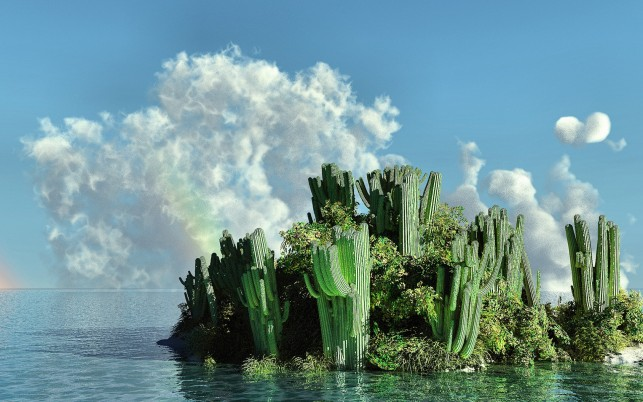 Ocean Cactuses Island Clouds wallpapers and stock photos