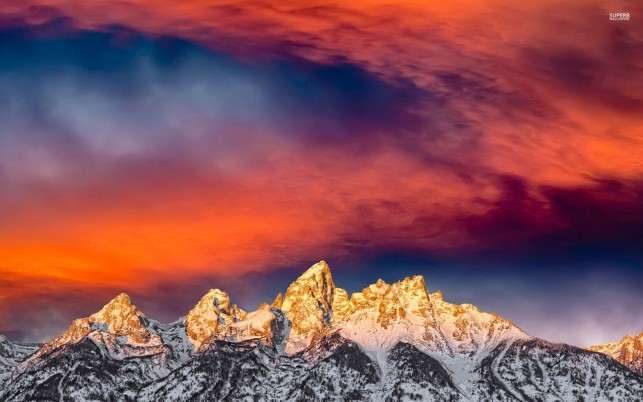 Golden Peaks & Fire Red Sunset wallpapers and stock photos