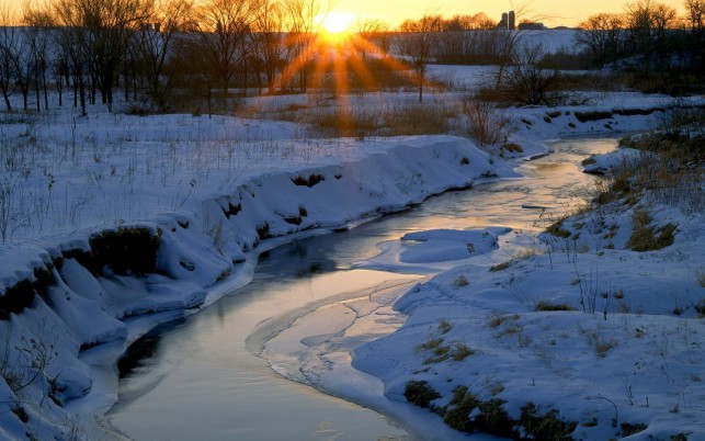 Snowy Hills Frozen Creek Sunny wallpapers and stock photos