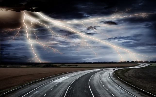 Highway Thunder Bolt Fields wallpapers and stock photos