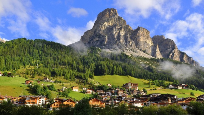 Alps Forest Houses Town Sky wallpapers and stock photos