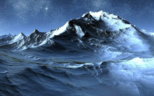 Random: Snowy Mountain Stars Night