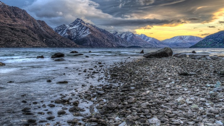 River Peaks Rocky Shore Sunset wallpapers and stock photos