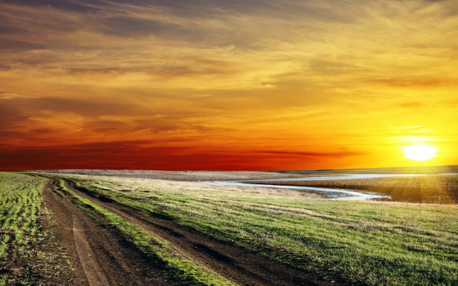 River Way Grass Perfect Sunset wallpapers and stock photos