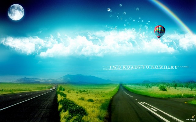 Two Lovely Roads Fields Ballon wallpapers and stock photos