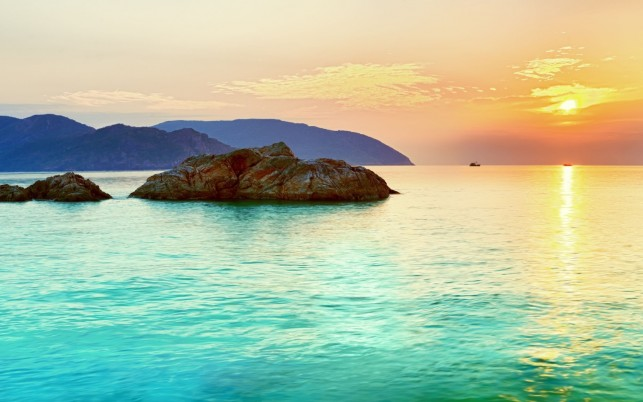 Azure Ocean Rocks Islands Sun wallpapers and stock photos