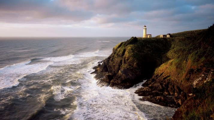 Wild Ocean Light House Cliffs wallpapers and stock photos