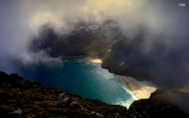 Ocean Bay Peaks Foggy Aerial wallpapers and stock photos