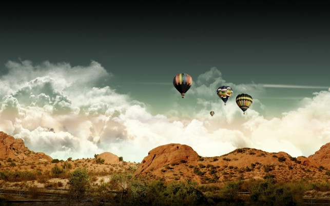 Hill Trees Pretty Air Balloons wallpapers and stock photos