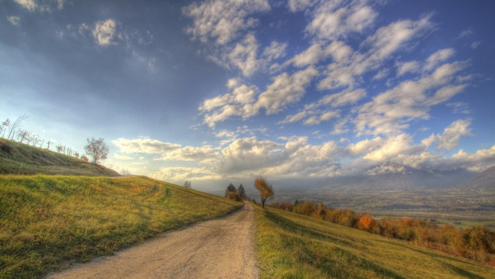Amazing Hill Side Path Valley wallpapers and stock photos