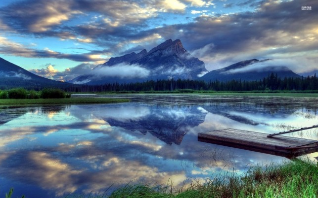 Vermilion Lakes Alberta Canada wallpapers and stock photos